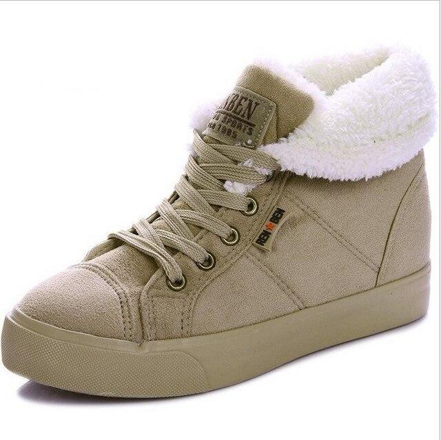Invierno de las mujeres Del Tobillo de la nieve botas con cordones botas de Martin botas de moda de algodón ocasional de las mujeres de invierno botas de goma laca tamaño 35-40