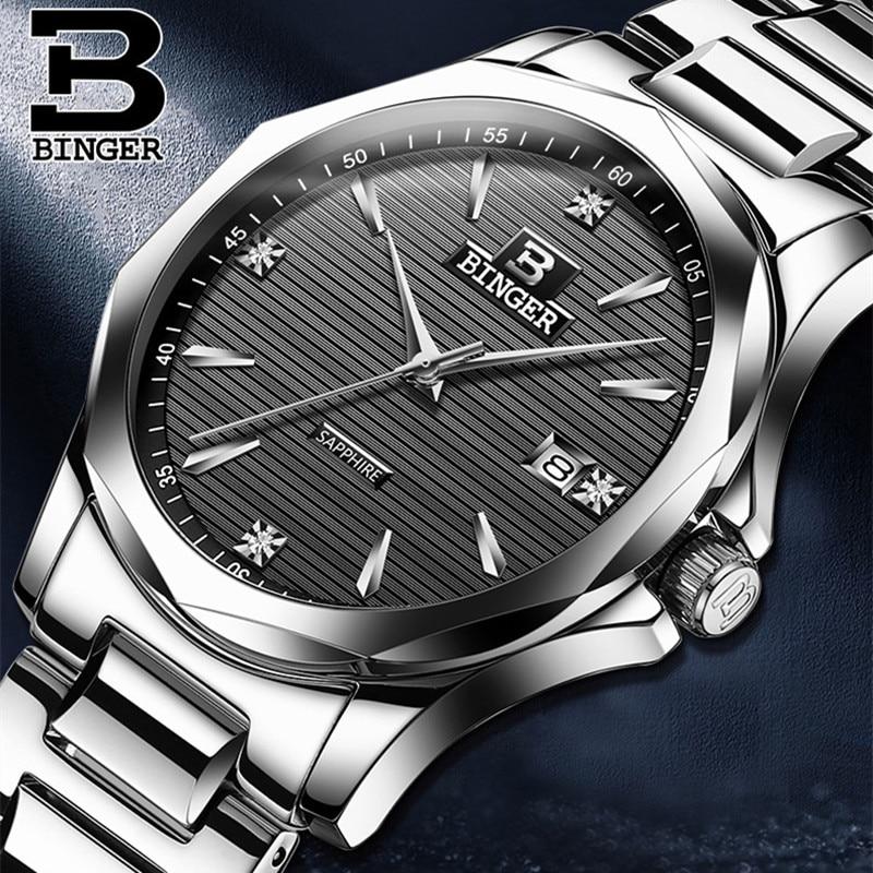 Simple Fashion Men Brand Switzerland Watches Imported Quartz Gentlemen Dress Sapphire Watches Full Steel Calendar Wrist watch đồng hồ binger bg54