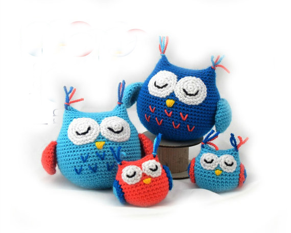 owl family  andmade Amigurumi   Small and large owl crochet  owl toy rattle