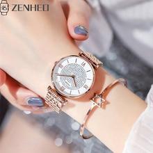 Women watch Simple wild star dial stainless steel buckle luxury fashion ladies geometric roman numeral quartz movement watch mesh steel strap roman numeral watch