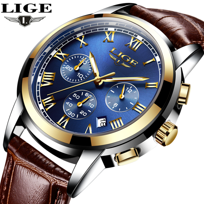 LIGE Mens Watches Top Brand Luxury Leather Casual Quartz Watch Men Military Sport Waterproof Clock Gold