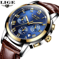 LIGE Mens Watches Top Brand Luxury Leather Casual Quartz Watch Men Military Sport Waterproof Clock Gold