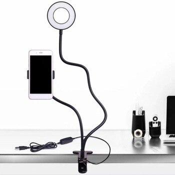 Girlwoman Selfie LED halka ışık ile cep telefonu Mobil Tutucu için Youtube Canlı Akışı Makyaj Kamera Lambası iPhone Android için