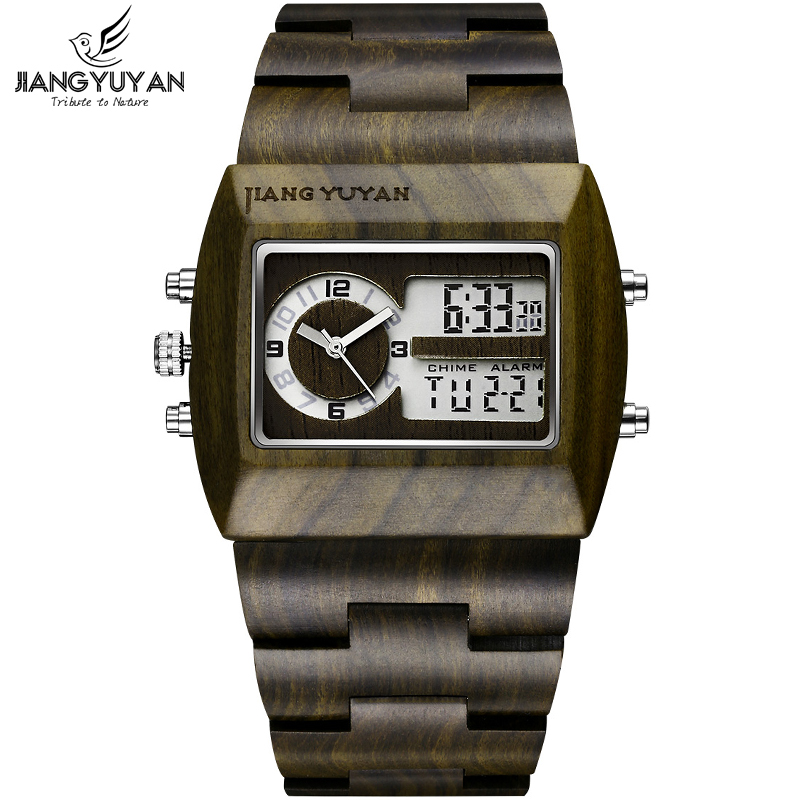 Natural Sandalwood Watch Men Luxury Brand Antique Wood Watches Date Quartz Analog Digital LED Wristwatch Gift His reloje Relogio bewell natural wood watch men quartz watches dual time zone wooden wristwatch rectangle dial relogio led digital watch box 021c