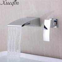 Xueqin Zinc Alloy Single Handle Flexible Chrome Brass Square Waterfall Kitchen Sink Single Lever Faucet Mix Tap Wall Mounted