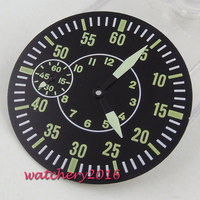 38.9mm Sterile watch Dial + Watch Hands fit 6497 ST 3600 movement watch case Black round dial