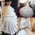 Vestido де Noiva 2015 романтические кружева свадебные платья Casamento элегантный часовня поезд класса люкс half-рукава свадебного платья свадебные платья