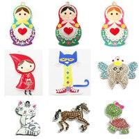 (Wählen Stil Erste) Jeder Stil 10 teile/beutel Emaille/Strass Kreide katze, Puppe, Pferd, Rot mädchen, Schildkröte Anhänger Für Halskette,