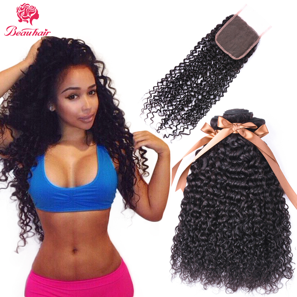 Beau Hair Malaysian Kinky Curly Non Remy Hair 2/3 Bundles With 4*4 Lace Closure Human Hair Bundles With Closure Free Shipping