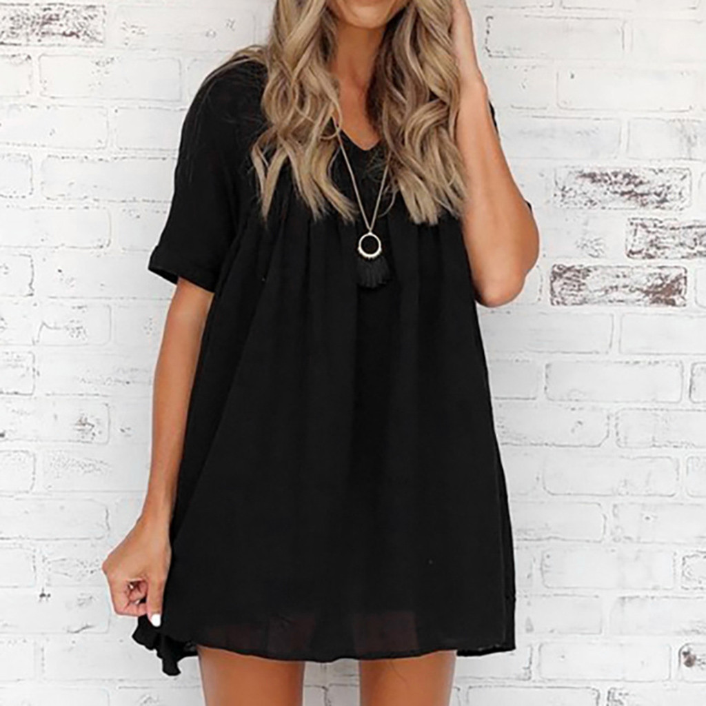 Women Solid Summer Dress 2020 V Neck Loose Plain Short Sleeve Dress Casual Swing Party Short Dress Empire Mini Beach Dress Jurk