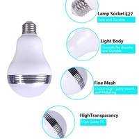 Smart Color LED Light Bulb E27 Base Bluetooth Speaker Music Player Lamp Multi Color Changing Smartphone