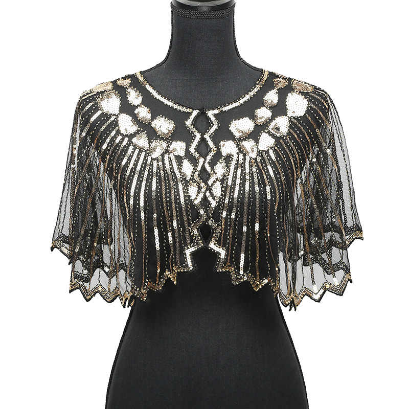 Vrouwen Sjaals 1920s Flapper Borduren Fringe Sjaal Cover Up Gatsby Party Kralen Sequin Cape Vintage Mesh Sjaal Wraps voor jurk