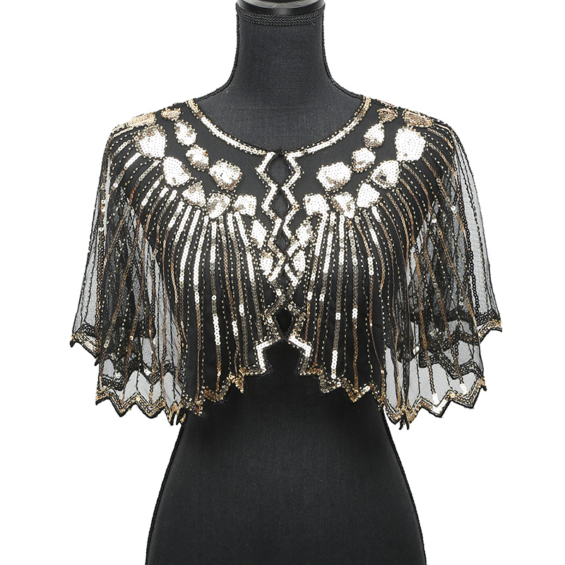 Women   Scarves   1920s Flapper Embroidery Fringe Shawl Cover Up Gatsby Party Beaded Sequin Cape Vintage Mesh   Scarf     Wraps   for Dress