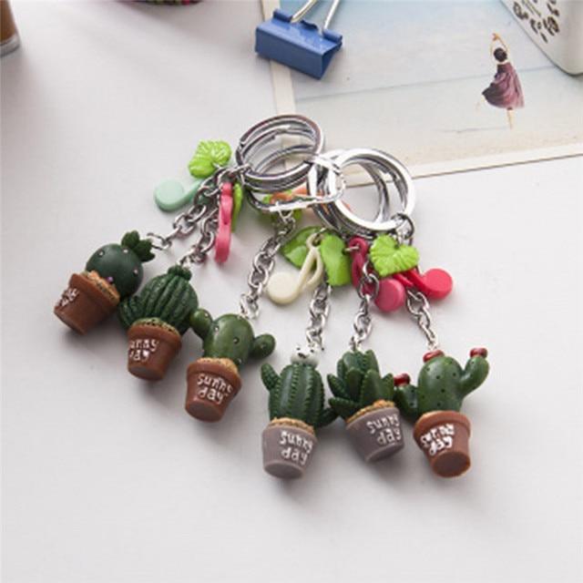 Modo novo Estilo Resina Cactus planta Simulação keychain Bonito chaveiro Verde Suculenta planta pingente Encanto Do Telefone Saco De Decoração Presentes