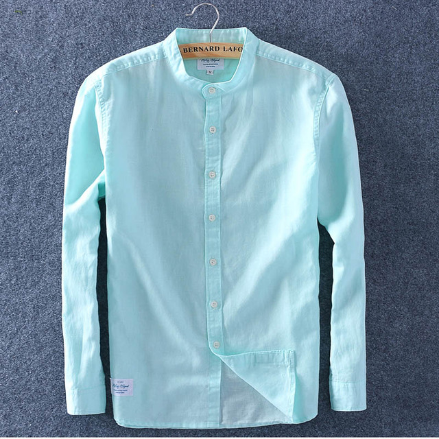 Schinteon Men Spring Summer Cotton Linen Shirt Slim Stand Collar Comfortable Undershirt Male Plus Size Top Quality Free Shipping 4