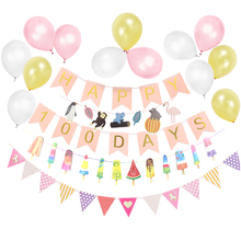 Set of 19 Pink/Blue 100 DAYS Birthday Party Decorations Happy Banner Latex Balloons For Girl/Boy Baby