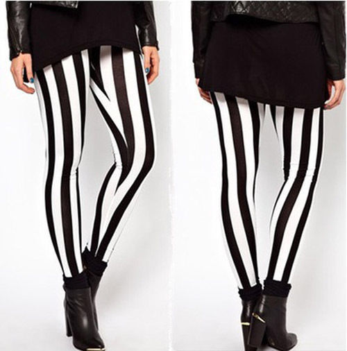 New Hot Plus Size Women Casual Black White Striped Wide Elastic Stripes Stretch Leggings Long Trousers HOT 3