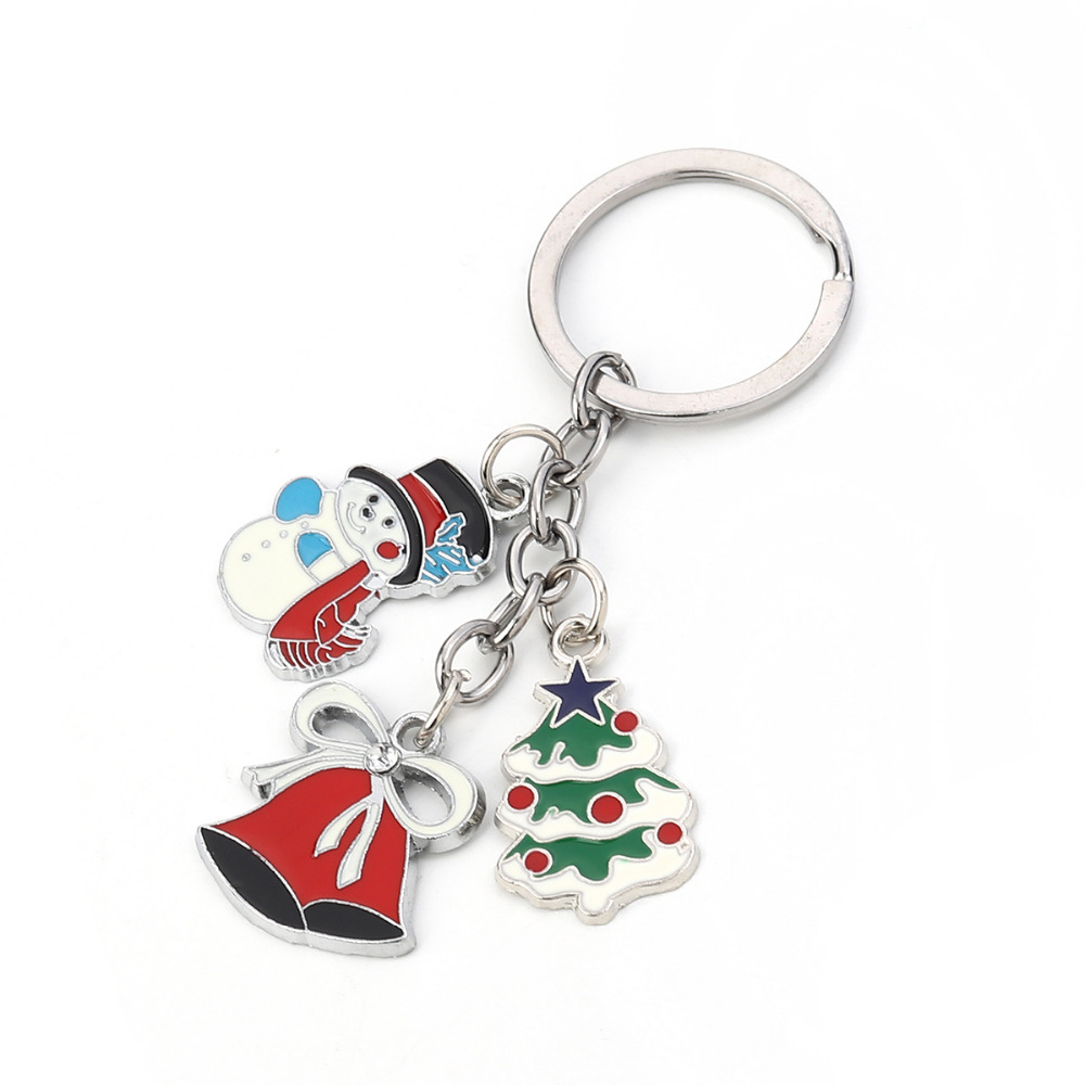 Doreen Box Keychain & Keyring Christmas Santa Claus Dull Silver Color Multicolor Green Christmas Tree Snowflake Enamel, 1 Piece