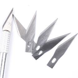 Metal Scalpel Craft Engraving Pen Knives DIY Wood Paper Carving Food Cutting Repair Stationery Art Tool 1 x Handle+ 6 x Blades