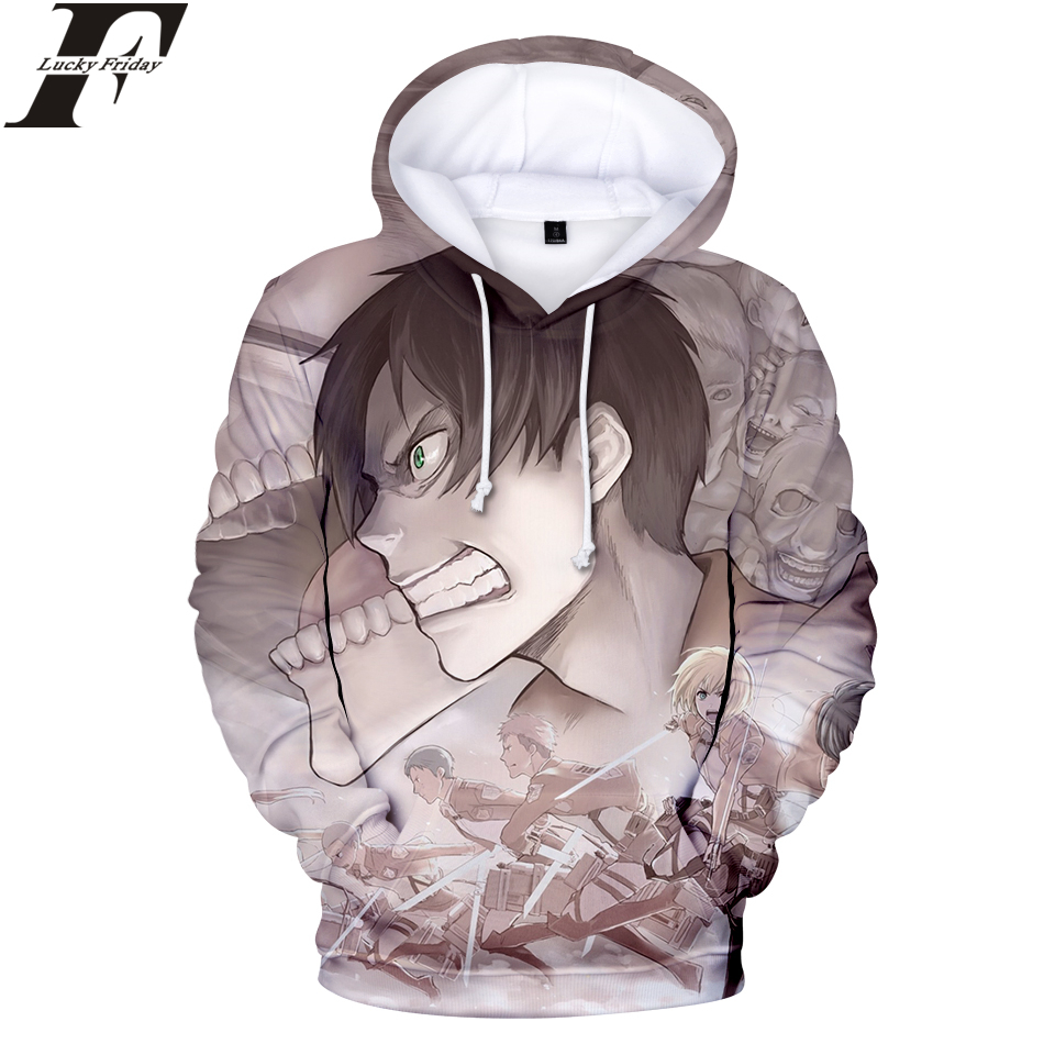 LUCKYFRIDAYF Attack on Titan 3D Hoodies Sweatshirt 2018 Anime Women/Men Regular Hoodies With Cap Style Hoodies Clothes Plus Size