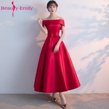 Beauty-Emily Long Prom Dresses 2018 A-Line Red Dress Gown Formal homecoming Party Gowns Vestido De Festa Curto