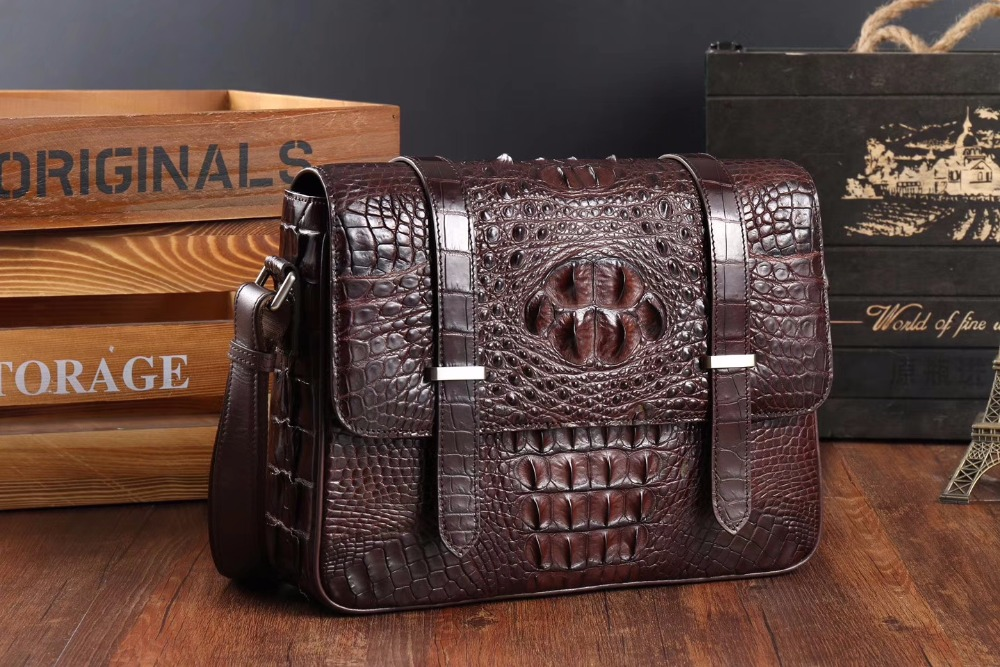 2018  Men's Genuine/Real 100% Crocodile Skin Messenger Cross Body Bag, Crocodile Skin Leisure Business Men Shoulder Bag Brown