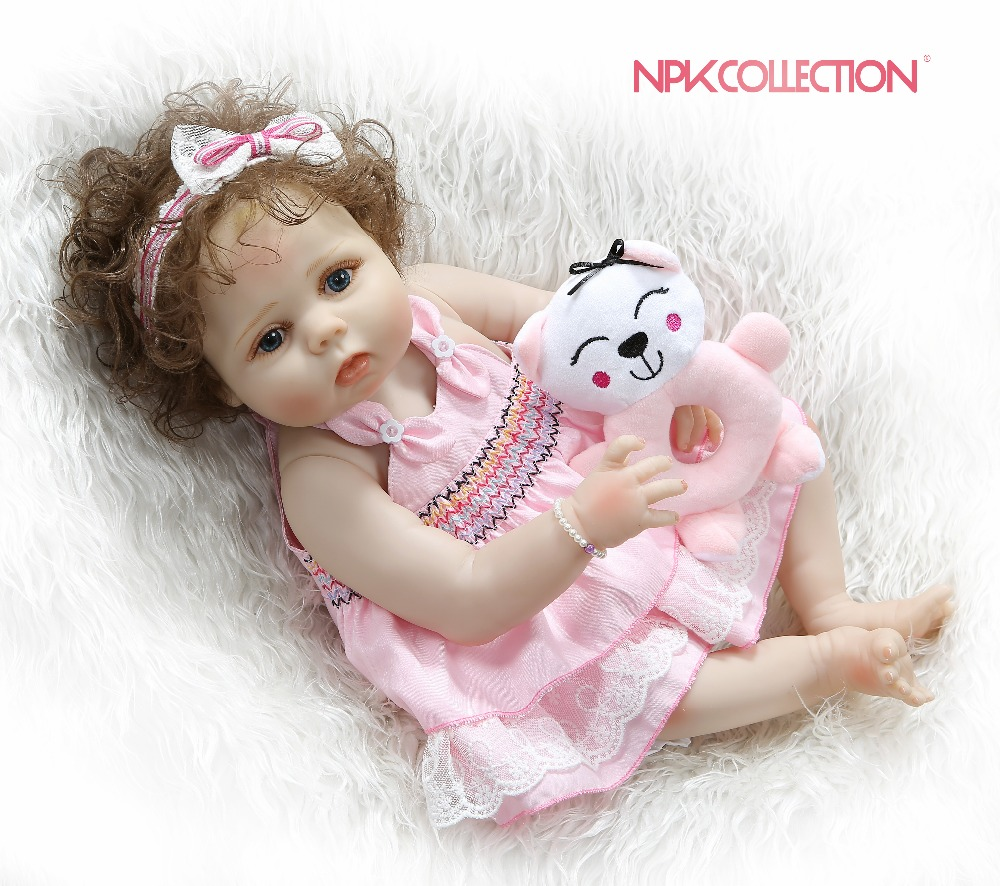 NPKCOLLECTION 56CM full body slicone reborn baby doll girl bebe doll reborn Bath toy hand rooted