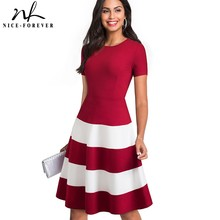 Nice-forever 1950s Retro Contrast Color Patchwork Round Neck Female vestidos Business Party Flare A-Line Women Dress A142