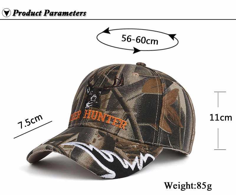 """Deer Hunter"" Embroidered Baseball Cap - Product Parameters"