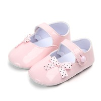 Spring and autumn baby bright leather baby shoes bow buckle PU soft bottom toddler shoes