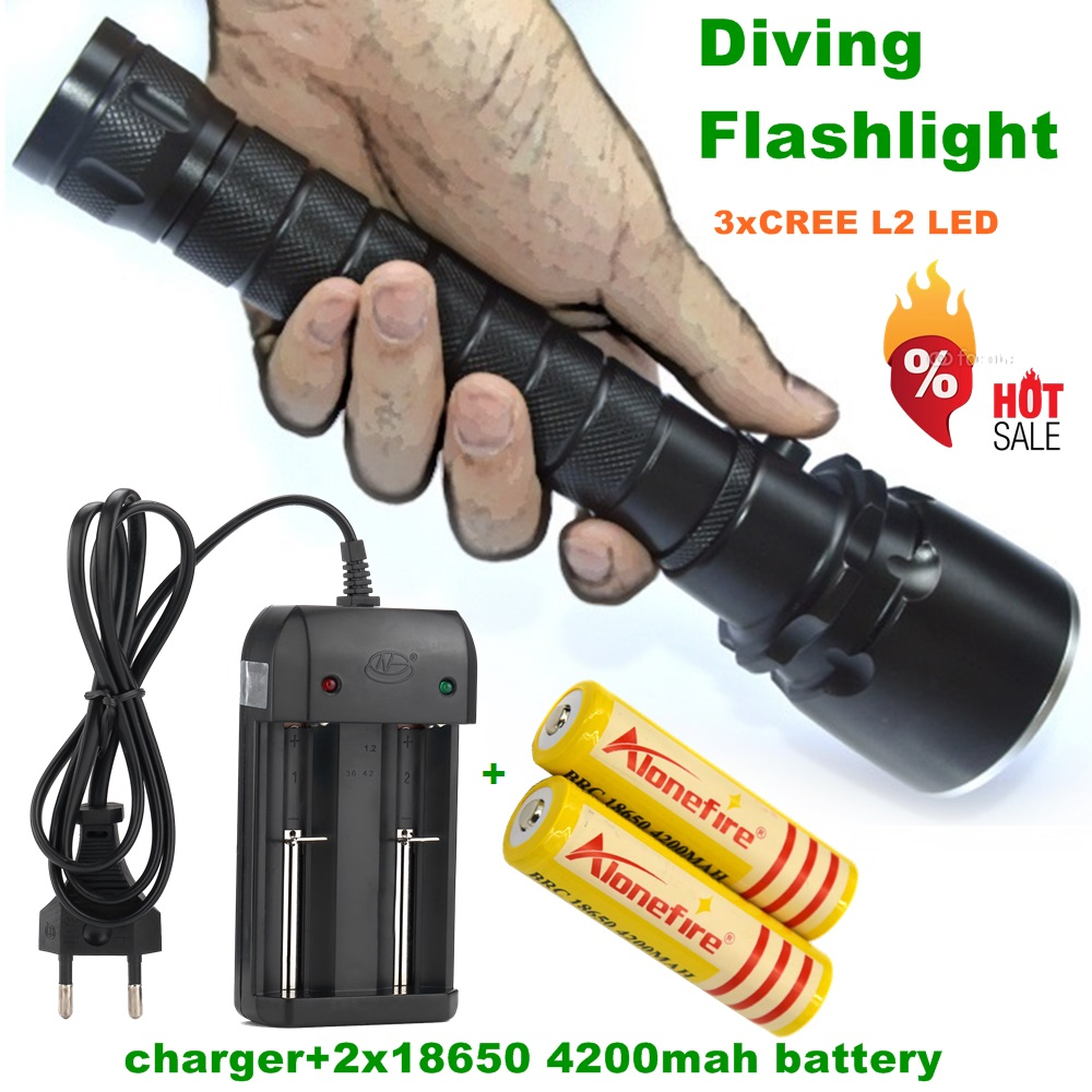 Alonefire DV20 CREE XML L2 LED Underwater Diving diver 18650 Flashlight Torch Light Lamp+18650 Rechargeable battery+charger boruit 5000lm strong bright xml l2 led scube diving flashlight underwater torch outdoor diver lantern 18650 26650 battery