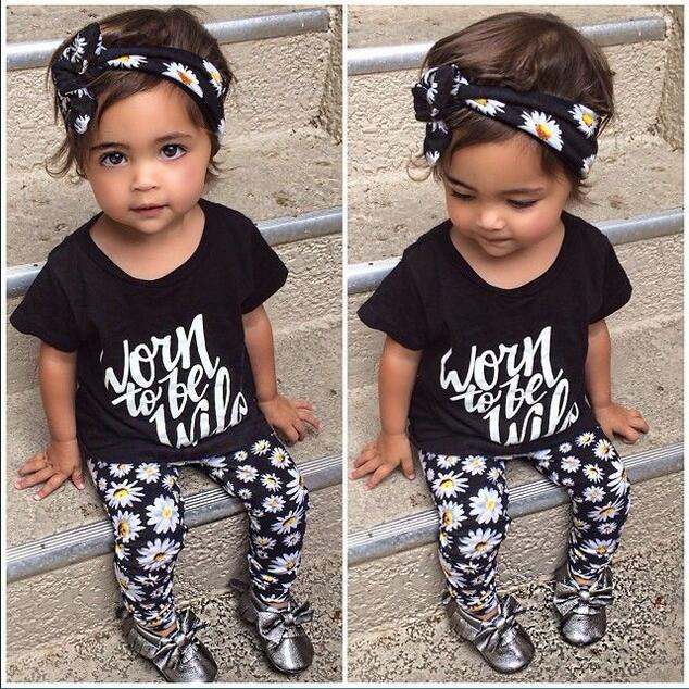 SY122 The New 2016 Summer Baby Girl Clothes 3 Pcs Pack Flower Band T Shirt Pants