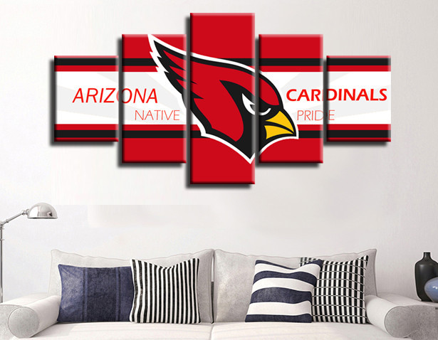 5 Pieces Arizona Cardinals Red Bird Canvas Painting Wall Art Poster