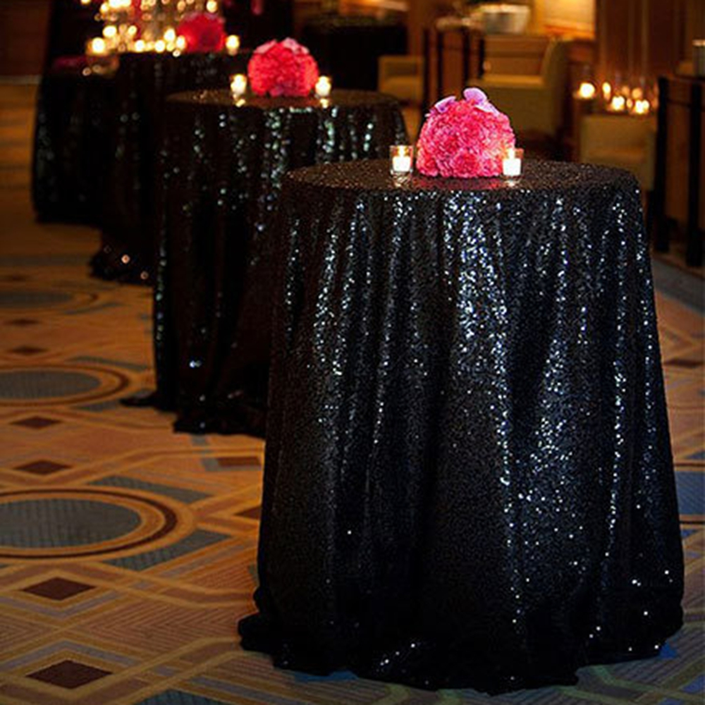 72 Inches Round Sequin Tablecloth Black Wedding Tablecloth Overlays  Birthday Party Decorations Kids Supply