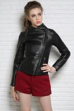 Spring black motorcycle genuine leather jacket womens sheepskin jackets and coats slim oblique zipper short clothes star style