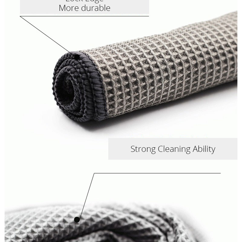Car Wash Towel Glass Cleaning Water Drying Microfiber Window Clean Wipe Auto Detailling Waffle Weave for Kitchen Bath 4040 cm (8)