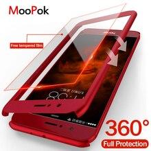 MooPok Lüks 360 Derece Tam Kapak Kutuları Için Huawei P10 Lite Artı P9 Lite telefon kılıfı Için Huawei Onur 9 Lite 8 Lite Ile Ca...