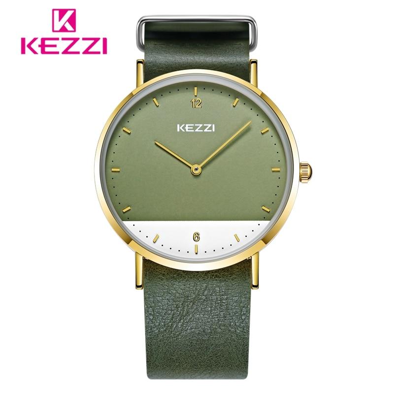 KEZZI 2017 женские часы Мода Большой Циферблат Водонепроницаемые повседневные кожаные студент наручные часы horloge Dames Relogio feminino