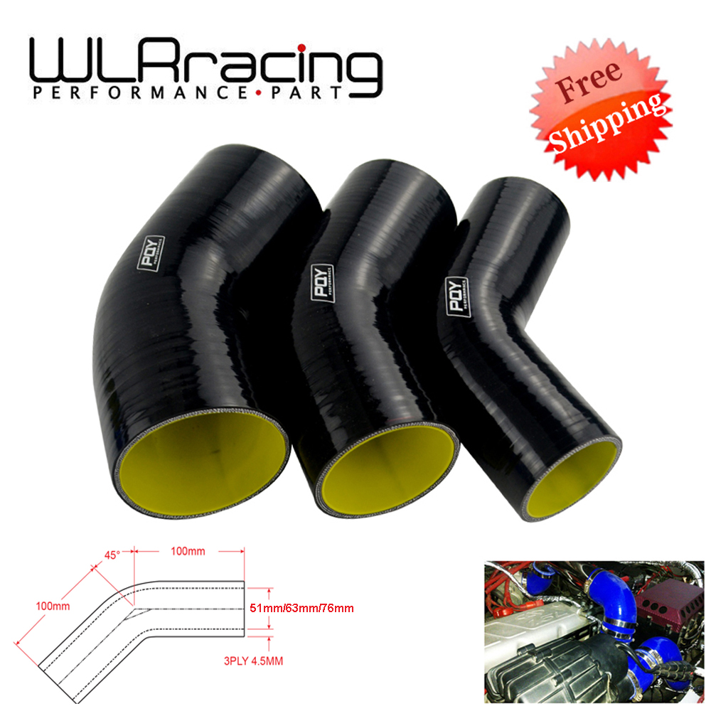 76mm 0 Degree Straight Silicone Boost Intake Hose Black 3