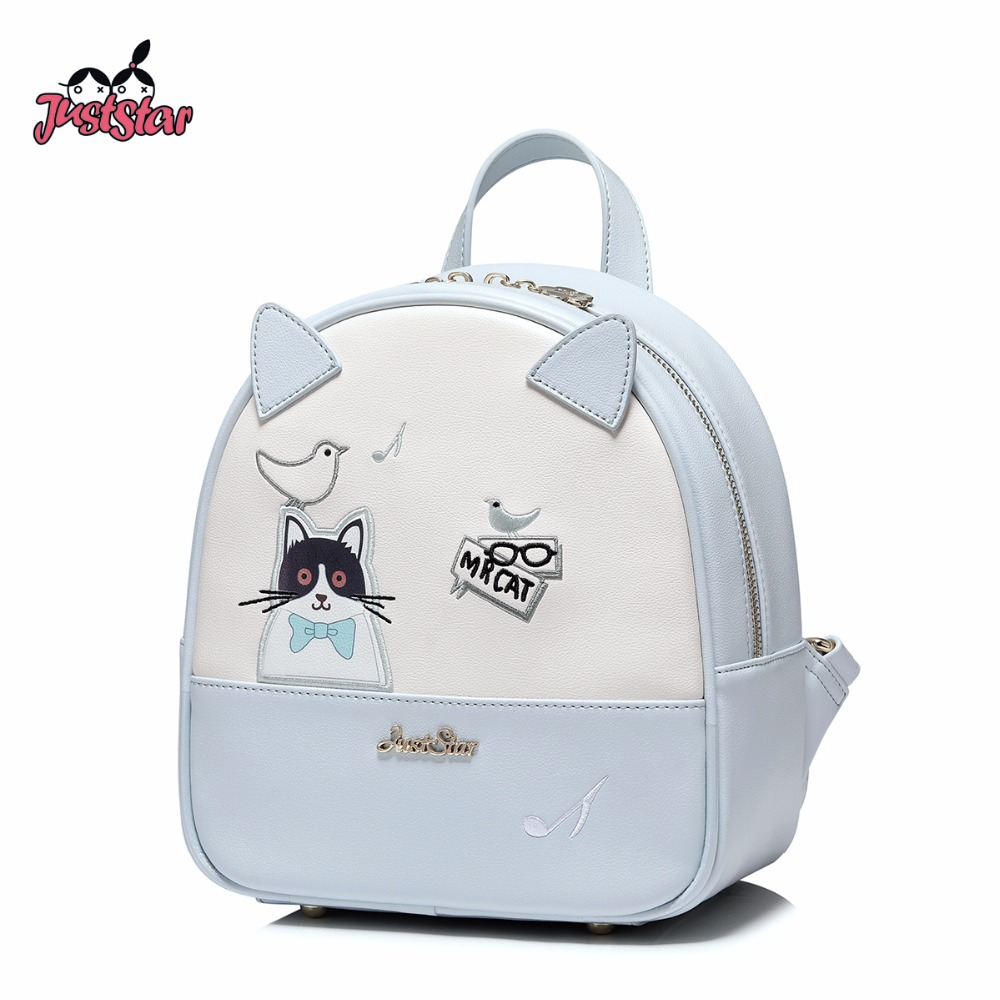 JUST STAR Women s Backpack Female Leisure PU Leather Embroidery Cartoon Cat Bird Double Shoulder Bags