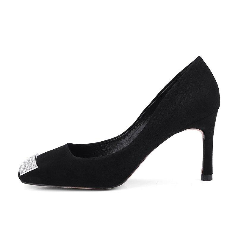 ISNOM บางรองเท้าส้นสูงผู้หญิงปั๊มชี้ Toe คริสตัล Slip บนรองเท้าหนังนิ่มรองเท้าแฟชั่นหญิงรองเท้า 2019 ฤดูใบไม้ผลิ-ใน รองเท้าส้นสูงสตรี จาก รองเท้า บน   2