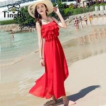 0a4ea57776ee Tingfly Boho print backless long summer dress Women ruffles sexy strap dress  2018 red chiffon loose beach dress vestidos