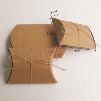 300pcs 9*7*2.5cm brown kraft Paper Pillow Box +hemp rope for candy/food/wedding/jewelry gift box packaging display boxes