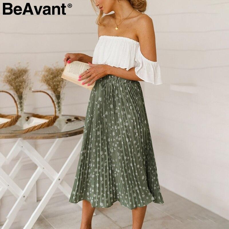 BeAvant Floral Print High Waist Long Pleated Skirt Women Holiday Beach Chiffon Summer Skirt Bohemian Loose Ladies Skirts Female