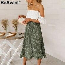 تنورة طويلة حريمي بها ثنيات بخصر عالٍ من BeAvant, تنانير صيفية للسيدات بوهيمية من الشيفون فضفاضة للإجازات على الشاطئ