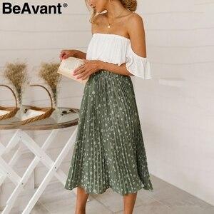 Image 1 - Beavant saia plissada longa com estampa floral, feminina, para férias, praia, chiffon, verão, estilo boêmio, solto