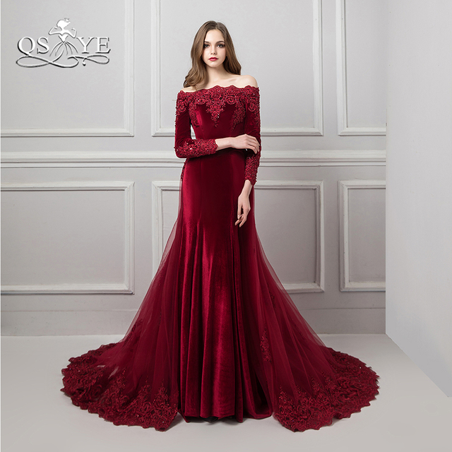 9c9ba3df431b Burgundy Vestido de Festa Lace Evening Dresses 2018 Beaded Appliques Boat  Neck Long Sleeve Romovable Skirt Prom Dress Party Gown