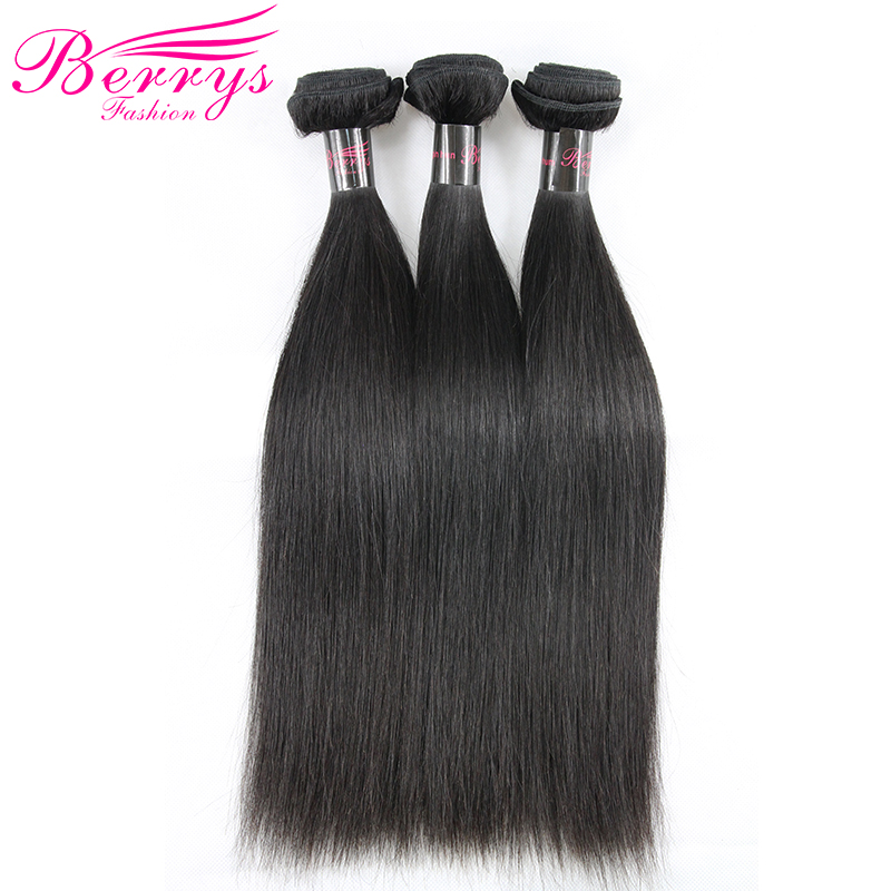 Berrys Fashion Hair Hair-Extensions Indian Straight 3-Bundles Natural-Color Double-Weft