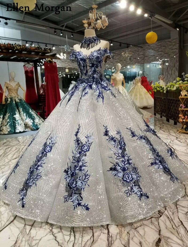 Image 2 - Silver Glitter Fabric Lace Ball Gowns Wedding Dresses 2019 Saudi Arabian Off Shoulder 3D Flowers African Black Girl Bridal Gowns-in Wedding Dresses from Weddings & Events