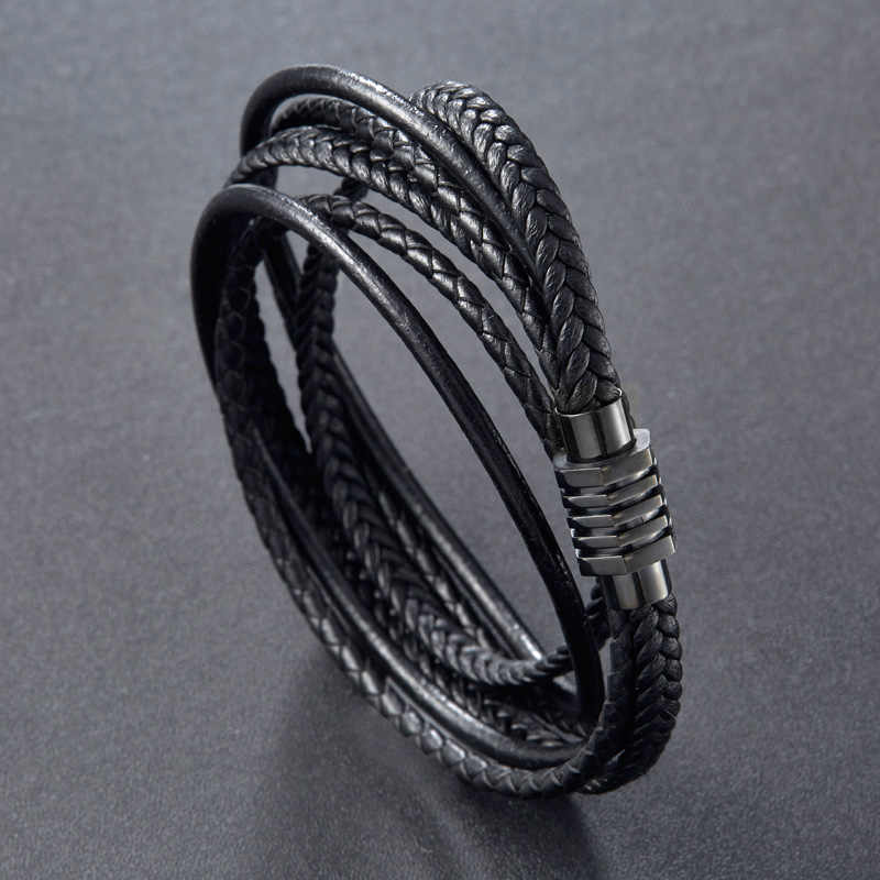 YIZIZAI Fashion Vintage Braided Leather Bracelet Black Color Rope Stainless Steel Bangles Multi Layer Punk for Men Jewelry Gifts